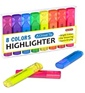 Highlighters, Shuttle Art 8 Assorted Colors Highlighter Pens, Chisel Tip Dry-Quickly Non-Toxic Hi...