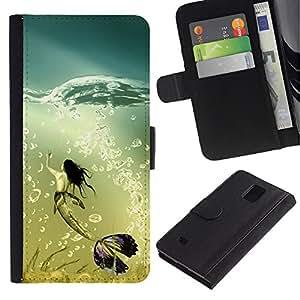 iKiki Tech / Cartera Funda Carcasa - Mermaid Whale Ocean Turquoise Art Bubbles - Samsung Galaxy Note 4 SM-N910