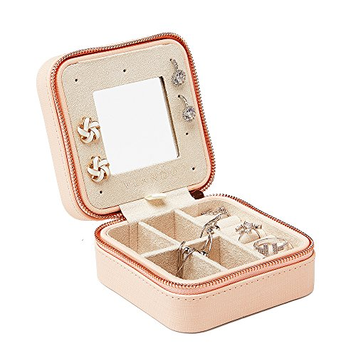 Vlando Small Travel Jewelry Box Organizer - Refined Carry-on Jewelries Necklaces Rings Earrings Necklace Storage Case, Pink