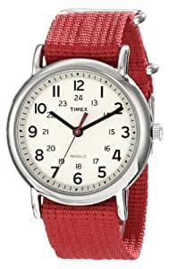 """Timex Unisex T2N751 """"Weekender"""" Watch with Red Nylon Strap"""