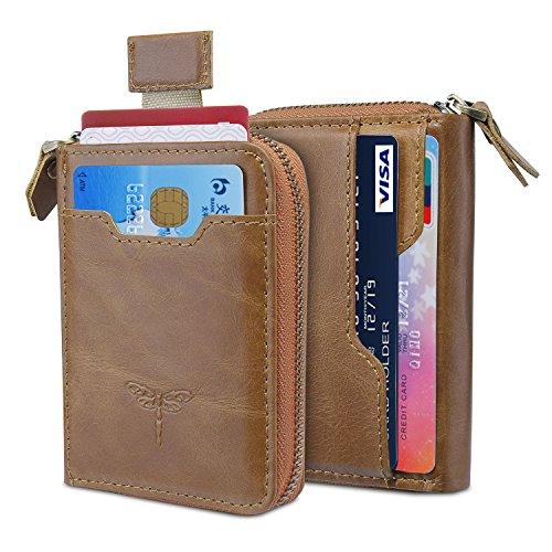 Genuine Leather Card Holder Slim Wallet With Front Pocket Wallet for (Mens Zip Front Leather)