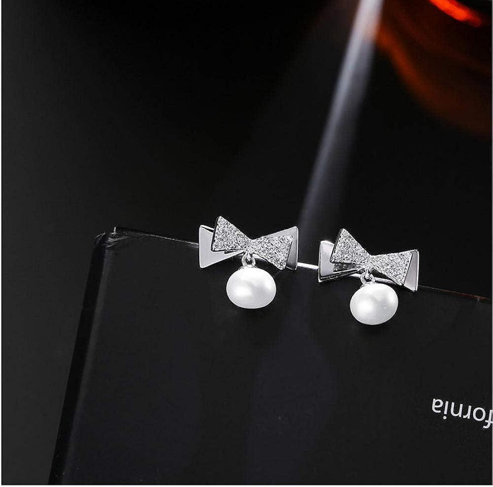 Pendiente Joyas originales originales Cuentas de cristal Pendientes de bowknot Pendientes de perlas de plata esterlina Pendientes Mujeres Accesorios de boda