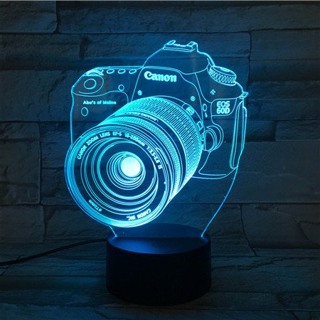 LE3D 3D Optical Illusion Desk Lamp/3D Optical Illusion Night Light, 7 Color LED 3D Lamp, Canon 3D LED For Kids and Adults, DSLR Camera Light - Hours Black White And Optical
