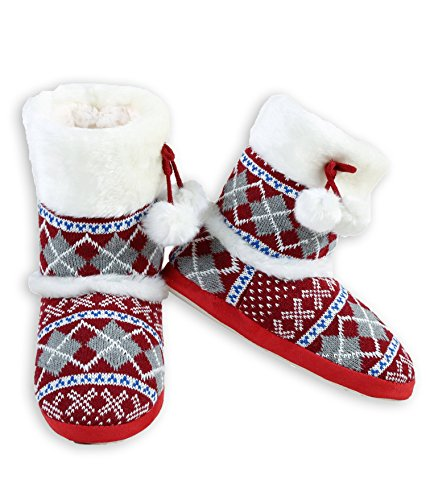 ICONOFLASH Women's Sweater Knit Bootie Slipper with Faux Fur Trim (Red Argyle, Medium/Large, 8-10 US) ()