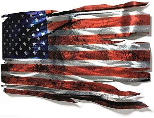 Tattered American Flag USA Patriotic Metal Wall Hanging Art Home Decor