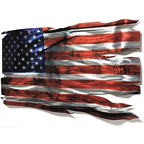 (Large Patriotic Metal Wall Sculpture 'Tattered Glory' by Helena Martin - Wavy, Distressed American Flag Art - 46x24in | Made in USA)