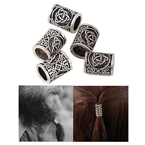 Viking Beard Beads Hair Beads-Viking Hair Beads for Men Diy Beads Celtic Rosary Beads Bearded Dragon Ring Irish Beard Beads Large Viking Beard Beads Metal Beads Celtic Knot Dreadlock Hair Accessories
