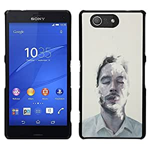 Be-Star Único Patrón Plástico Duro Fundas Cover Cubre Hard Case Cover Para Sony Xperia Z3 Compact / Z3 Mini (Not Z3) ( Man Portrait Mist Art Closed Eyes Face )