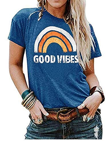 - Vaise Women Good Vibes Tank Tops Long Sleeve and Sleeveless Loose Graphic Tank Tops Casual Summer Rainbow Good Vibes Shirt (M, W-Blue)
