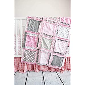 Image of Baby Girl Crib Quilt for Nursery Bedding Decor - Pink/Gray - QUILT ONLY Home and Kitchen
