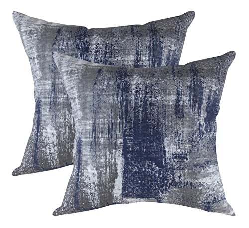 TreeWool, (2 Pack) Throw Pillow Covers Brush Art Accent Decorative Pillowcases Toss Pillow Cushion Shams Slips Covers for Sofa Couch (20 x 20 Inches / 50 x 50 cm; Navy Blue & - Art Pillowcase