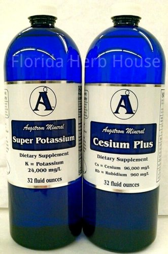 Cesium Liquid Ionic & Super Potassium High pH Therapy Minerals (32 oz) by Florida Herb House