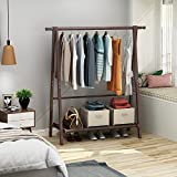 soges Garment Clothing Rack 47 inch Solid Wood Coat Stand Storage Rack with Canvas Shelf for Hats, Bags, Shoe, Clothes Living Room Furniture, Espresso BS2002-CF