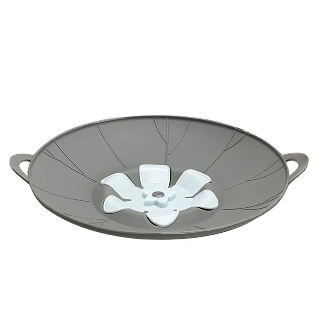 Clearance Sale!DEESEE(TM)🍁🍁Spill Stopper Lid Cover Boil Over Safeguard,Silicone Spill Stopper Pot Pan Lid (Gray)