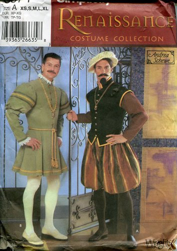 Simplicity Sewing Pattern 5574 Renaissance Tudor Mens Doublet Costume XS-XL (Xs Costumes)