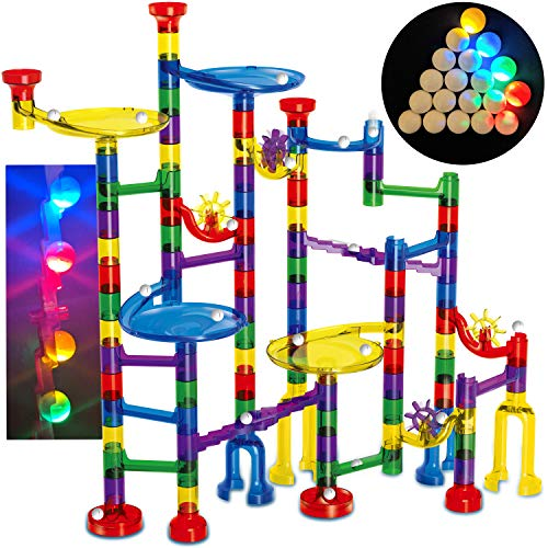 Thinkbox Toys Marble Race Game- 4 LED Marbles Light Up This 126 Pieces Marble Run Sets For Kids - STEM Toy For Boys and Girls Provides Hours of Building Block Fun and Educational Learning Through Play ()