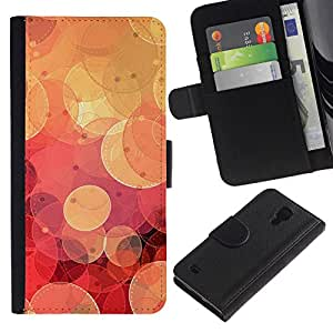 All Phone Most Case / Oferta Especial Cáscara Funda de cuero Monedero Cubierta de proteccion Caso / Wallet Case for Samsung Galaxy S4 IV I9500 // Retro Red Bokeh
