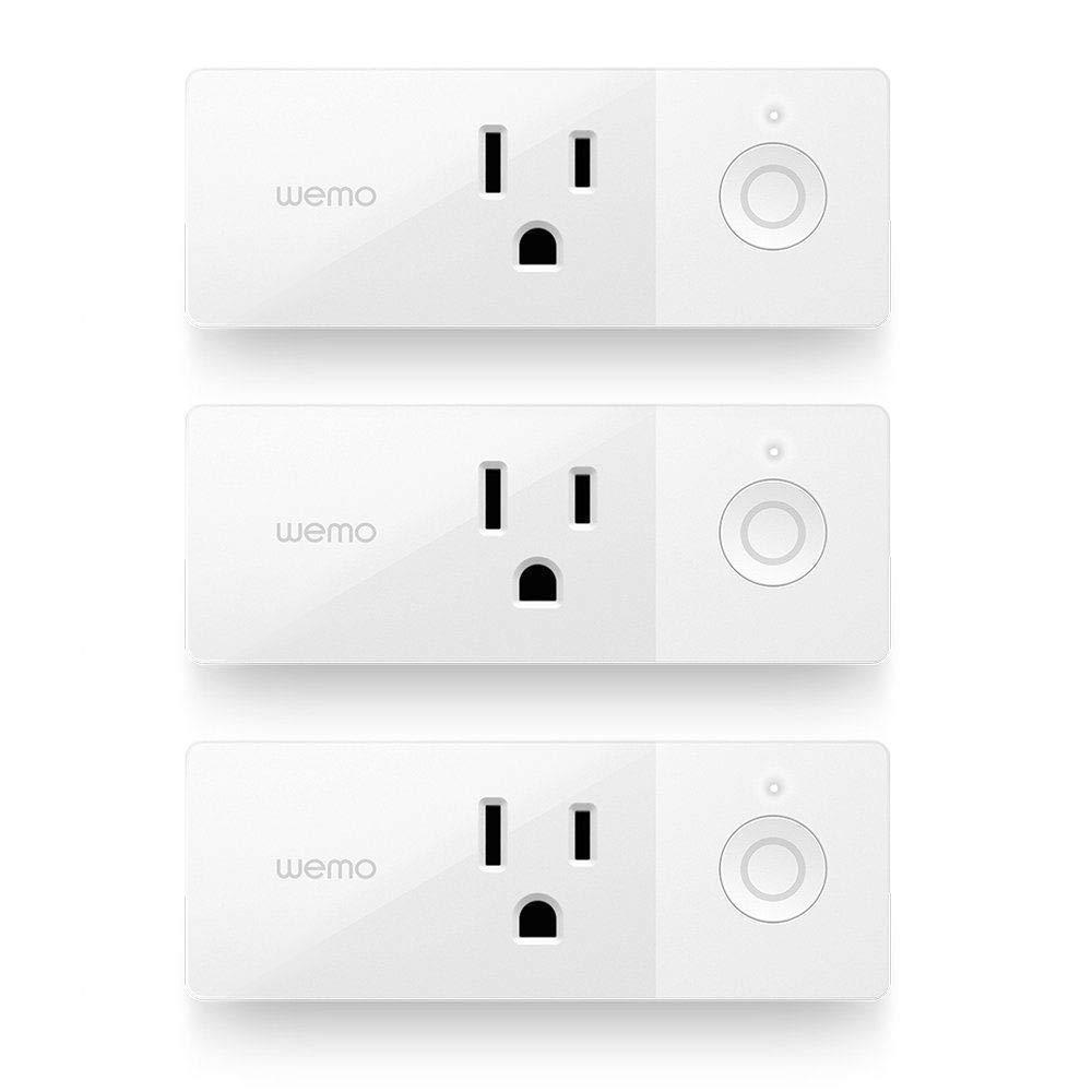 Wemo Mini Smart Plug (3-Pack), Wi-Fi Enabled, Works with Amazon Alexa (F7C063-RM2) (Certified Refurbished)