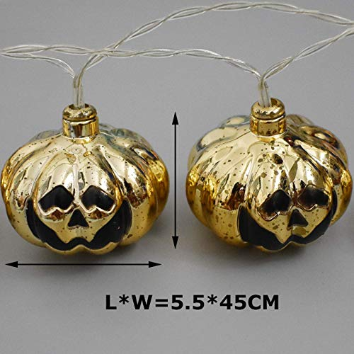 Halloween Decorations, 3 Meters 20 LED String Lights, Waterproofed Spooky Eletroplated 3D Pumpkin Lantern, AA Battery Powered Lamps for Indoor Outdoor for Halloween Party Decor(White Cold Light)