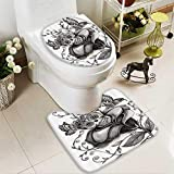 Muyindo Non-slip Bath Toilet Mat Skull of the Dead Catholic Butterfly Rose Flower Holi Culture in Bathroom Accessories