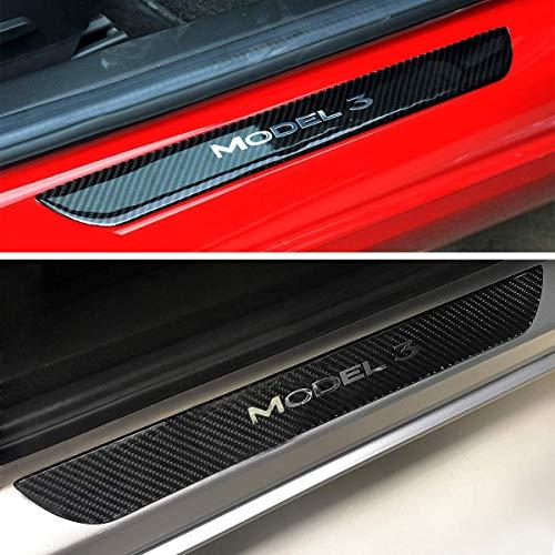 WJM Tesla Model 3 Front Door Sill 3D Carbon Fiber Skin,Door Sill Guards,Front and Rear Entry Guards Door Entry Sill Plate Protectors,Car Carbon Fiber - Front Skin Door