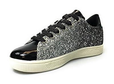 Forever Link Women's Glitter Fashion Sneakers (6.5, Black Glitter-1)