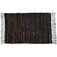 Split P Leather Rug, 24 by 42, Brown