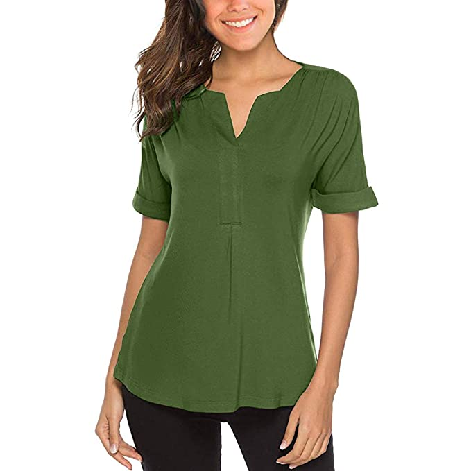 Damen Spitze Blumen Kurzarm V-neck Freizeit Sommer Lose Tops Bluse T-Shirt Shirt