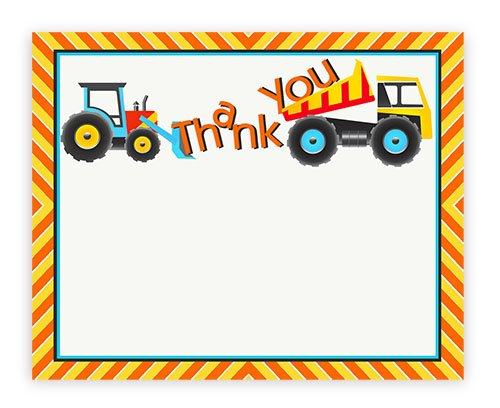 POP parties Construction Party Thank You Cards - 10 Thank You Cards + 10 Envelopes -