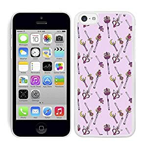 Funda carcasa para Apple iPhone 5C diseño dibujo varitas borde blanco