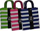 Medium Kraft Gift Bag, Assorted colors Stripe Design in Blue, Green and Pink with matching handles, 3 packs bulk set of 30 bags (Medium 8'' x 10'' x 4'')