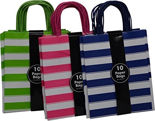 Medium Kraft Gift Bag, Assorted colors Stripe Design in Blue, Green and Pink with matching handles, 3 packs bulk set of 30 bags (Medium 8'' x 10'' x 4'') by Kraft King
