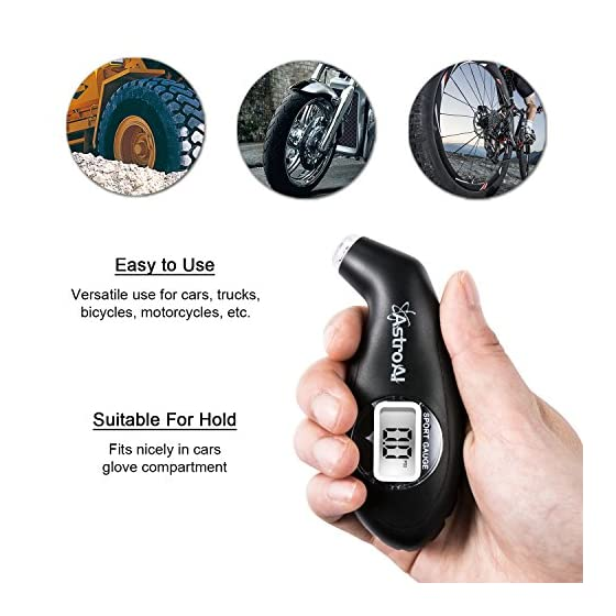 AstroAI Digital Tire Pressure Gauge Black 150 PSI 4 Settings for Car Truck Bicycle with Backlit LCD and Non-Slip Grip