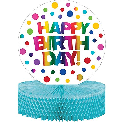 """Creative Converting 331789 Rainbow Foil Happy Birthday Party Honeycomb Centerpiece 13"""", Blue and Yellow"""