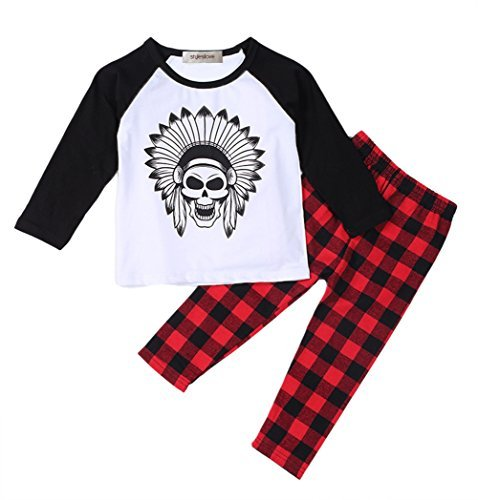 (Styles I Love Cute Graphic T-Shirt and Pants Baby Boy 2-pc Set (70/3-6 Months, Tribal Skull))