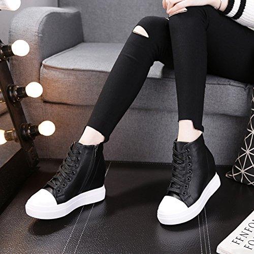 GIY Womens Increased Height Hidden Heel Booties - Round Toe High Top Wedge Platform Tennis Sneaker Shoes Black FL9qc