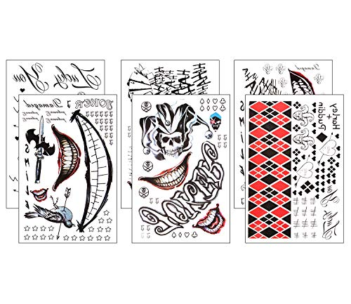 6 Sheets Temporary Tattoos Joker and Harley Quinn Suicide Squad for Cosplay Costumes and Halloween