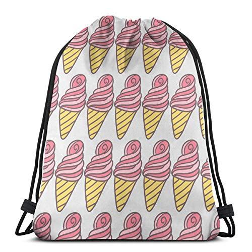 Wangchangjin Drawstring Bags Ice Cream Sport Gym Tennis Casual Daypack Backpacks Swimming Hiking Yoga Portable Travel for Women and Men ()