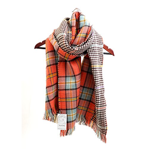 Women's Cozy Tartan Scarf Wrap Shawl Neck Stole Warm Plaid Checked Pashmina (Orang) by Neal LINK (Image #1)