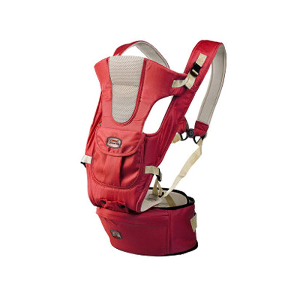 Baby Baby Carrier Multi-Functional Baby Waist Stool Ergonomic Design Cotton Lightweight Breathable Adjustable for 0 to 36 Months-red