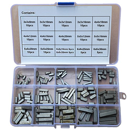 GAVAN 140Pcs Set Round Ended Feather Key Drive Shaft Parallel Keys 3mm 4mm 5mm 6mm ()