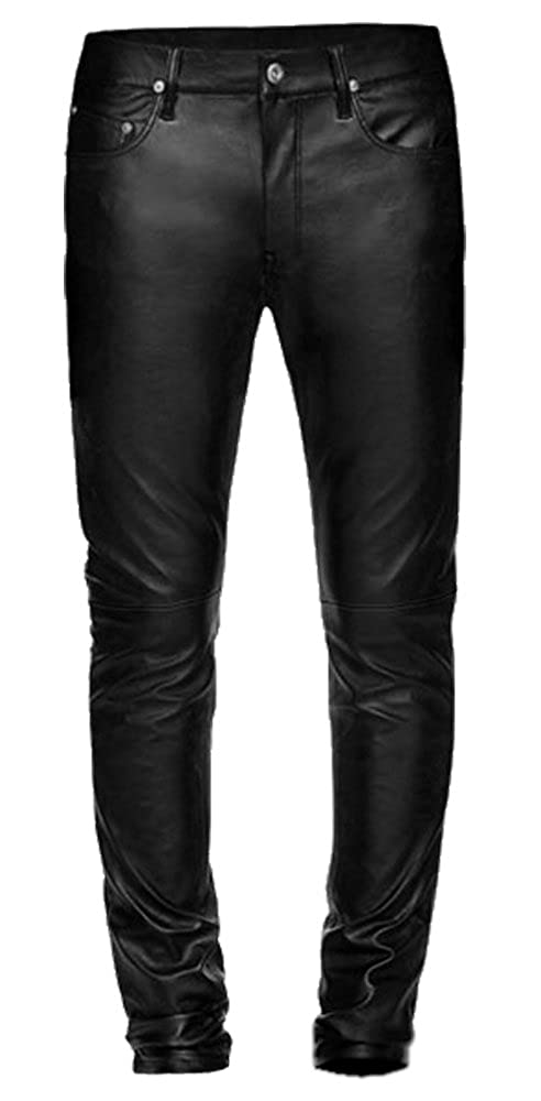 great fit hot-selling discount on feet at Leather Jeans, Biker Style, Skinny Pants, Men in Black, Basic 5 Pocket Skin  Tight