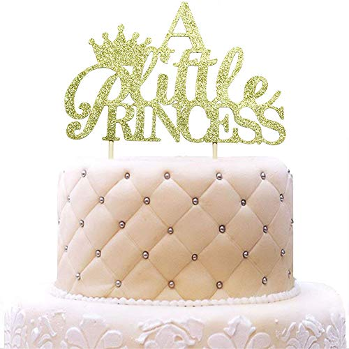 A Little Princess with Crown Cake Topper for Girl Baby Shower, Birthday, Wedding Party Decorations Gold Glitter
