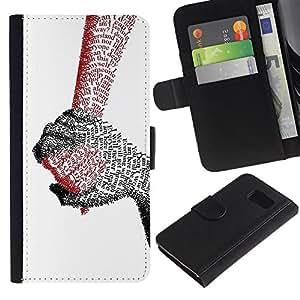 KingStore / Leather Etui en cuir / Samsung Galaxy S6 / Manos de amor