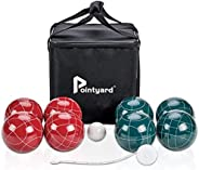 Pointyard 107mm Bocce Ball Set, Official Bocci Ball Set with 8 Resin Bocce Balls,1 Pallino,Nylon Carrying Bag,