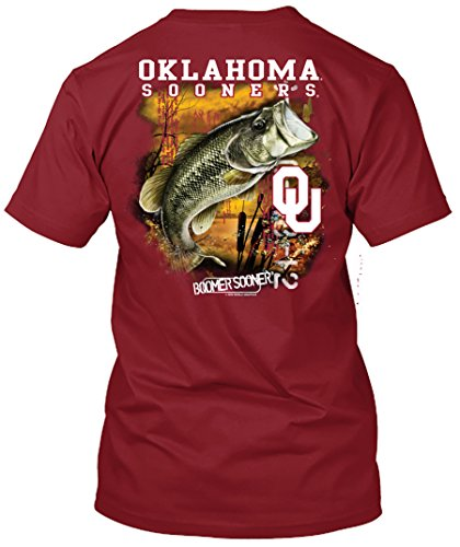 NCAA - Bass Fishing T Shirt - Multiple Universities Available - up to 2X and 3X - Officially Licensed Apparel (Oklahoma Sooners, Large)