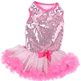 Pawpatu Sparkle Petti Dress with Hot Ruffles for Dogs, Small, Pink