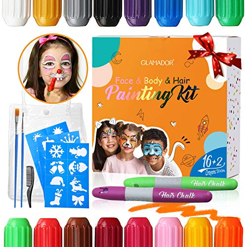 🥇 Pinturas Cara para Niños-GLAMADOR Kit de Pintura Faciales y Corporales-16 Colores