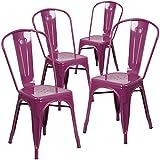 Flash Furniture 4-ET-3534-PUR-GG Purple Metal Indoor/Outdoor Stackable Chair (4 Pack)