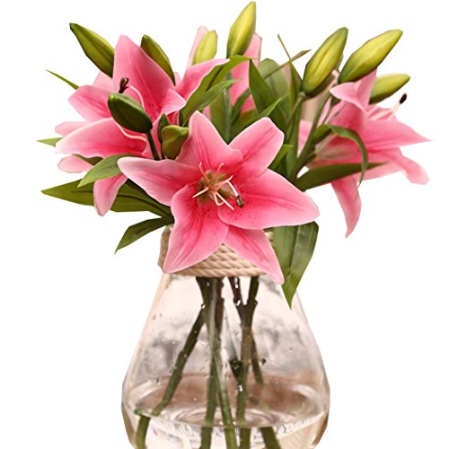 [Lily Artificial Flowers PVC Real Touch Home Bouquet Decor Flowers (10pcs/lot) (Pink)] (Starter Dance Costumes For Sale)